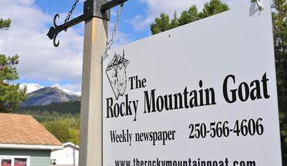 RMG outside sign office rocky mountain goat news valemount mcbride