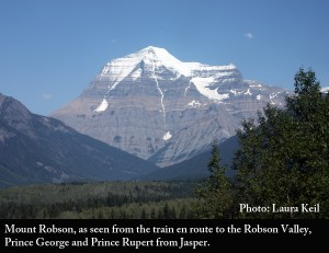 Mount Mt. Robson from train