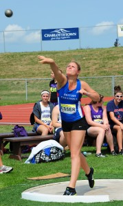 Agnes Esser in the shot put competition at the Legion Youth National Track and Field Championships.