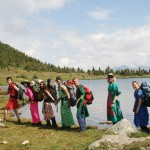 Ballroom Dress Hike organized by the newly formed Alpine Costume Hiking Organization of the Universe, based in Dunster.