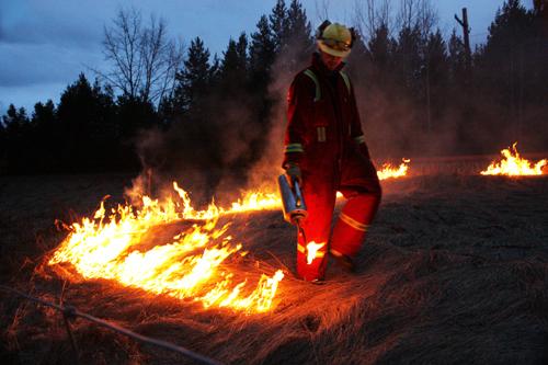 Fire fighter Valemount controlled burn 2013 CN rail