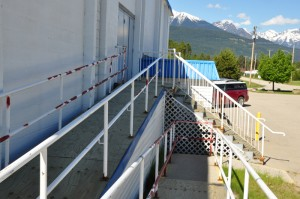 The accessibility ramp at the Valemount Community Hall.