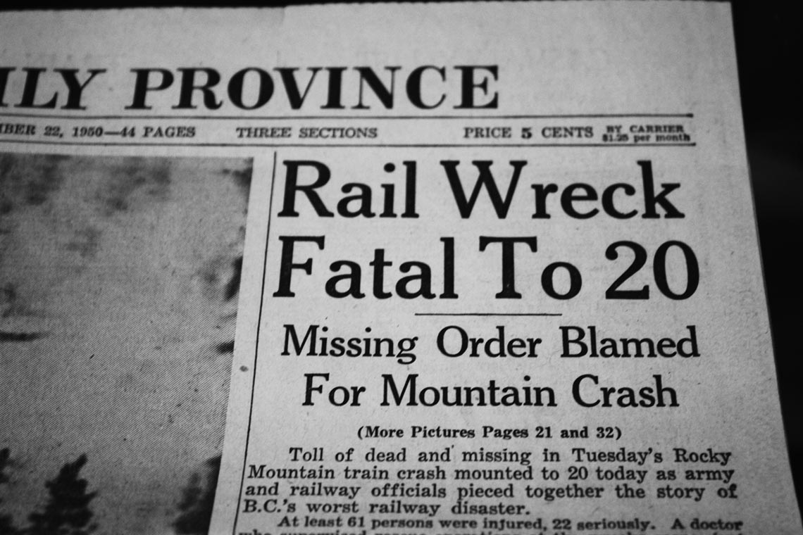 70th Anniversary  of the Canoe River Train Disaster
