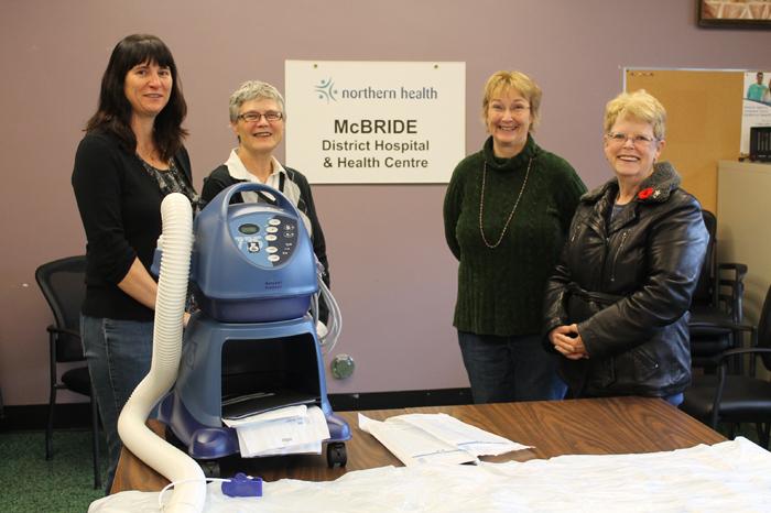 The Hospital Auxiliary presents a Bair Hugger to McBride Hospital. Left to right, Debbie Strang, Elanor Johnson, Keltie Carmichael and Diane Smith. Photo: Chris Parker