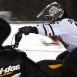 Curtis Pawliuk taking part in the 2013 snowmobile races in Valemount.
