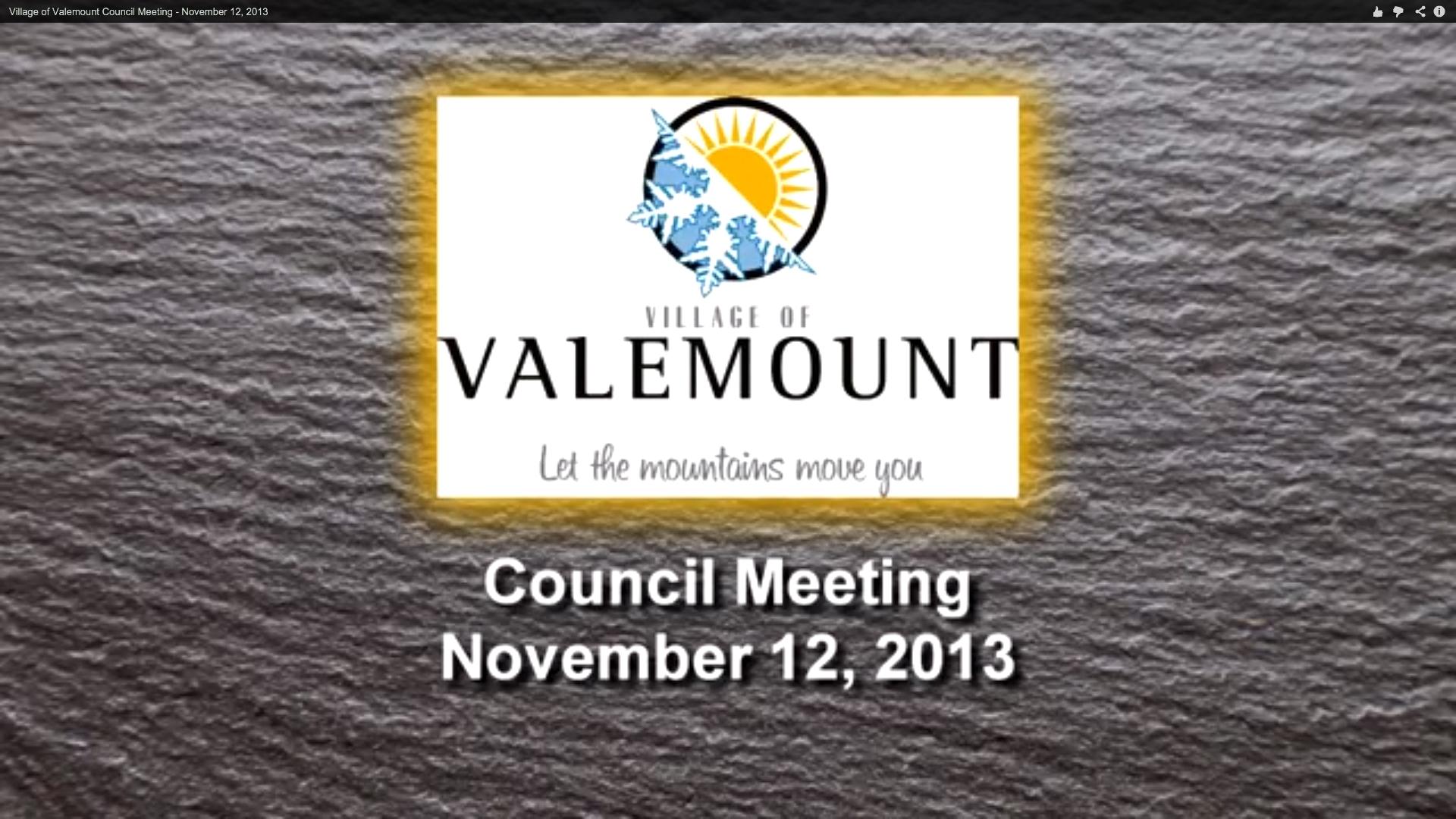 Valemount Council meeting, Nov. 12: video