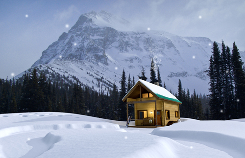 cabin, snow, mallard mountain lodge, Great Northern Snowcat Skiing