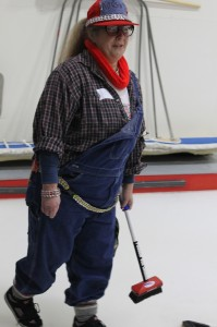 curling, ice, sport, broom, sweep, sweeping, coverall, coveralls, overall, overalls