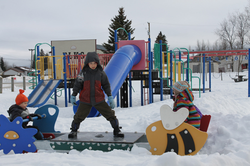 snow, playground, park, snowfest
