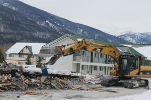demo, demolition, north country lodge, fire, construction, rebuild, build