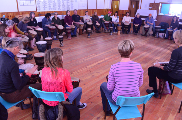 drum, drumming, drum circle, tete jaune, tete jaune hall, valemount arts council