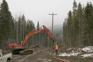 poles, Castle Creek, castle creek Project, construction, hydro, hydro line, power
