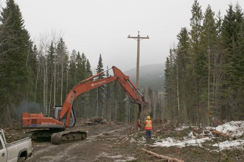 poles, Castle Creek, castle creek Project, construction, hydro, hydro line, power