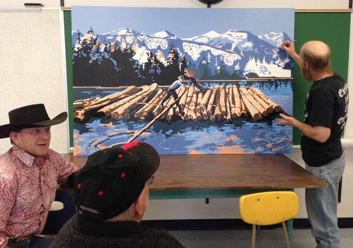 mural, paint, painting, whistle stop, gallery, new horizons, mcbride centennial school, school, valley museum, robson valley arts and culture council, art,