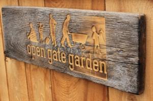 open gate garden, sign, wooden sign, etch, etching, community garden, garden