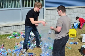 bottle collection recycling student environmental green recycle