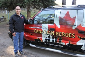 The father of a fallen soldier, on a trip with his son's truck, stopped in Valemount May 11th