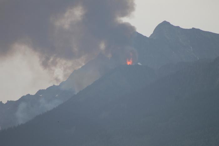 Recent blaze on Canoe Mountain near Valemount.