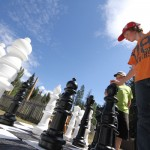 The giant chess board set up by the Valemount Public Library this past summer.