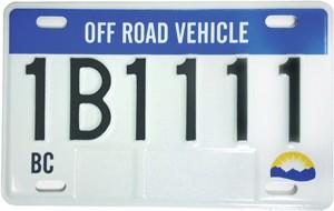 BC ORV ATV sled license plate