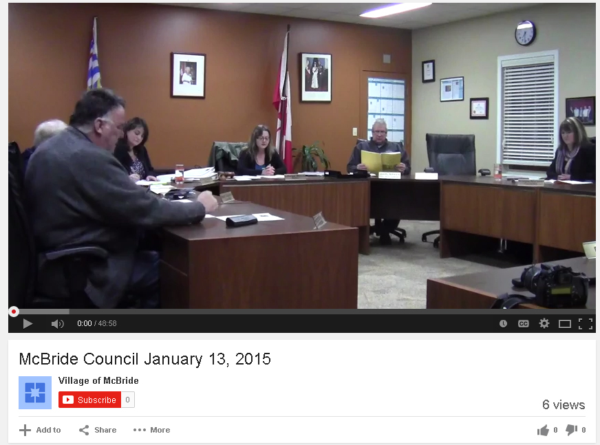 McBride council video screen shot
