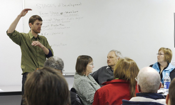 Joe Nusse explains aspects of the project to members of the Valemount Ski Society in 2011.
