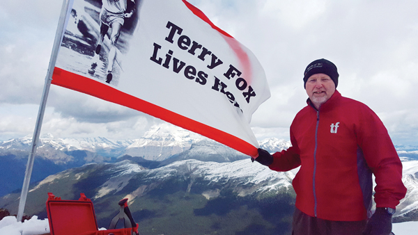Terry's three siblings – Fred (shown above), Darrell and Judy as well as Terry's two nieces – Kirsten Fox and Jessie Alder – all hiked some of Mt. Terry Fox on Sunday. Darrell and Fred made it to the summit for the first time, where they erected a new flag.