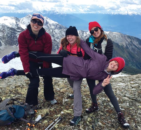 Chelsea Krupa (centre), Mina Deol(right), Katie McGreer (sideways) and Julia Renouf (left) of Edmonton.