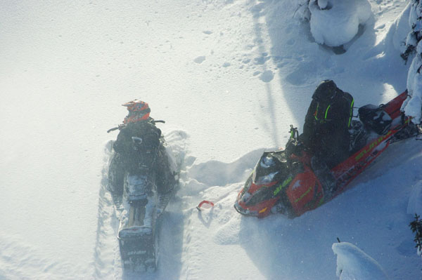 Photo: BC Gov. Snowmobilers caught in a caribou closure area near Blue River.
