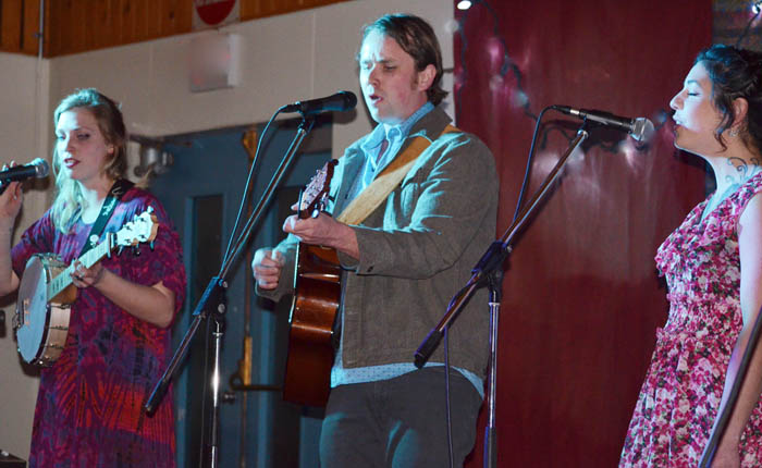 "Photo by Beth Russell  - One of the groups performing at a concert and pasta sauce competition March 26th at the Dunster Schoolhouse were the new Valemount group called Crescent Spur made up of Carolyn Kirk, Nick Beddington and Jessica. The event was part of a number of fundraisers to help pay off the mortgage on the Dundser Schoolhouse. Pete Amyoony says there is just one more payment left, and they hope to plan a ""mortgage burning"" party in May or June."