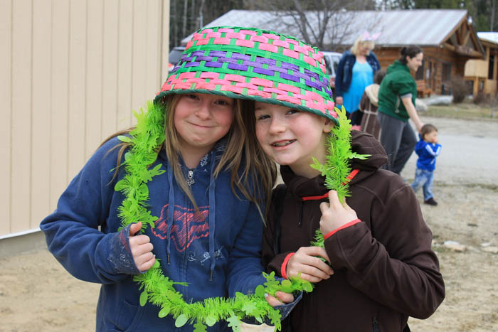 Hailey Plamondon and Taleigha Tinsley-Dawson share a unique Easter hat.