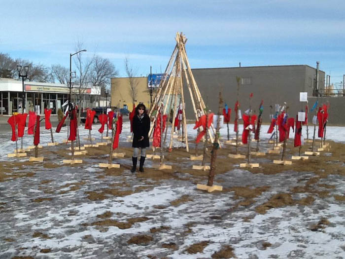 "Sherry Tinsley at an art installation called ""Ni Wapataenan"" in Edmonton last fall."