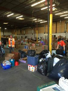 Supplied: The warehouse being used to store relief supplies.