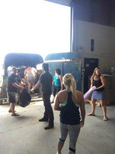 Supplied: Volunteers help to unload Jackilyn Lussier's truckload of help.