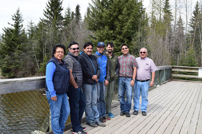 Simpcw Band Councillors Tina Donnald, Don Matthew, Tom Eustache, Ron Lampreau Jr., George Lampreau, Jules Phillip & Eddie Celesta checked out the salmon viewing platform while in Valemount recently. / SUPPLIED