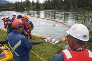 Kinder Morgan simulates a spill response at Tete Jaune Lodge, on June 1, 2016.