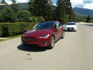 Photo: Joseph Nusse This Tesla parked on 5th Avenue just outside of The Gathering Tree is proof of electric cars already rolling through Valemount.