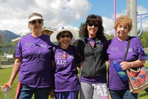 Photos: Laura Keil Above L to R: Dolly Odinson, Marg Tinsley, Sherry Tinsley and Gwen Suzuki were four of the two dozen people who took part in the walk on Saturday. Over $2000 was raised for ALS  research. Odinson's and Suzuki's sister Marilyn Anthony, who lived in Valemount, passed away from ALS two years ago.