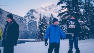 SUPPLIED: Eric Wilson, chief pilot of Smart Drones, and his crew, during their climb to Kinney Lake.