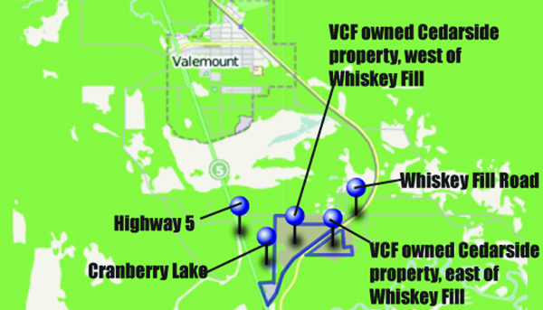 A map of the Valemount Community Forest owned Cedarside Industrial.