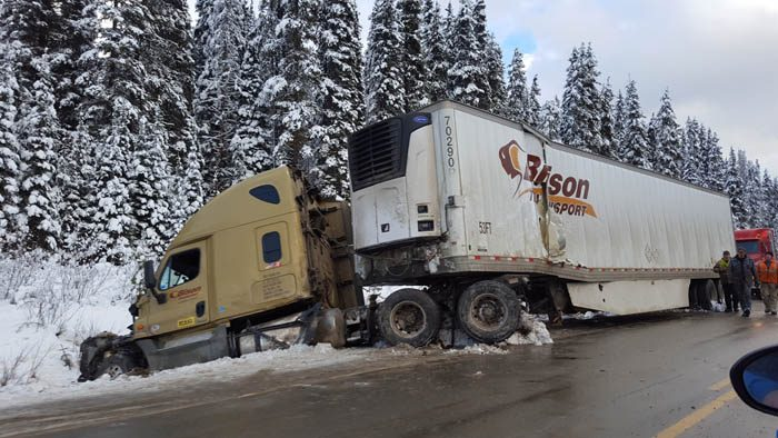 Photo: Laura Keil Dec. 1: Valemount RCMP attended a single collision on Hwy 6 near Red Pass after an east bound tractor trailer lost control on icy roads and did a 180 into the west bound ditch. A witness confirmed the truck was only travelling at 70 km/h which still proved too fast for road conditions. The driver was not injured.