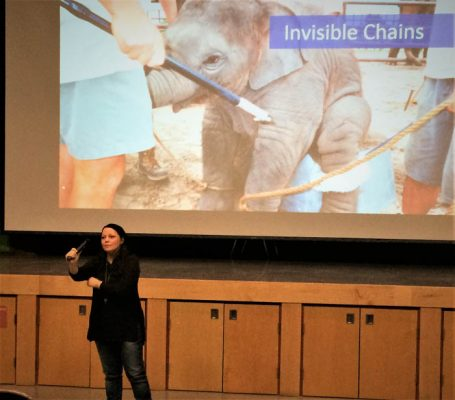 Photo: Monica Marcu Timea E Nagy, author, speaker and human trafficking advocate gives a presentation at McBride Secondary School last week. Free the Slaves, a nonprofit, estimates about 30-million people worldwide are currently enslaved.