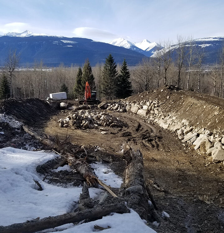 Debris basin constructed at Willox Creek slide site