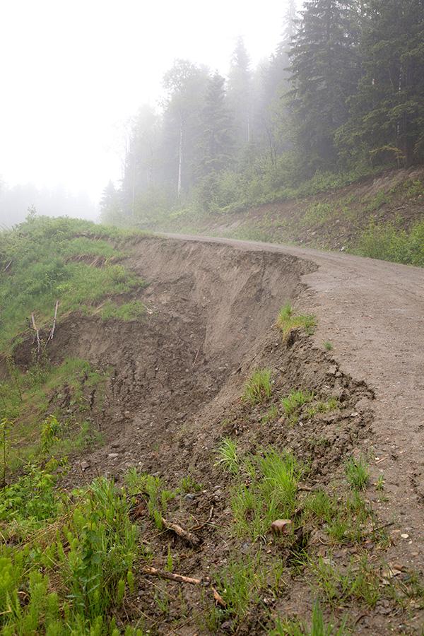 Road slump repair at Valemount Bike Park underway thanks to partners