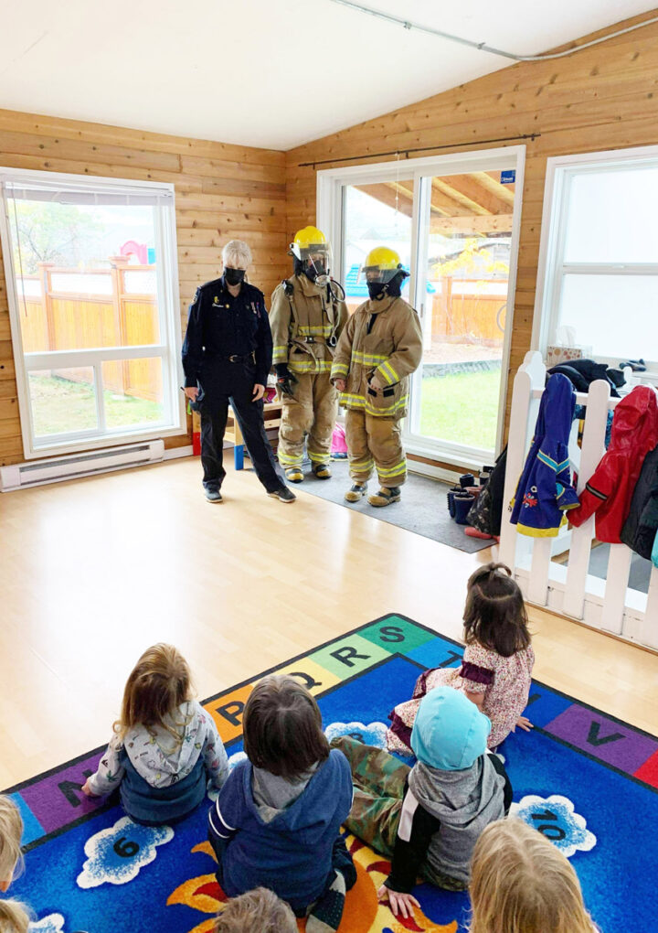Firefighters visit preschool for Fire Prevention Week